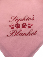 Personalised Dog Blanket. Paw + Hearts